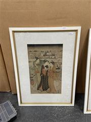 Sale 9004 - Lot 2090 - A Japanese Woodblock Print of Two Maidens and a Traveller, 58 x 43cm, frame