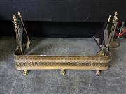 Sale 9031 - Lot 1075 - 19th Century Pierced Brass Fire Guard, on paw feet, with rope-twist band & leaf design, two fitted stands & various later tools (h:2...