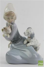 Sale 8490 - Lot 229 - Lladro Figurine of a Girl with Dog & Cat