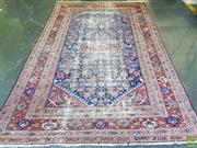 Sale 8598 - Lot 1086 - Antique Persian Possibly Ferahan Wool Carpet, with all-over herati to the medallion corners & dark blue field (300 x 200cm - heavy w...