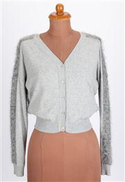 Sale 8640F - Lot 67 - A Weekend Max Mara grey cardigan with textured back and sleeves, size small.