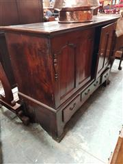 Sale 8868 - Lot 1154 - Basically Georgian Oak Mule Chest, converted to two panel doors & three drawers below