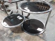 Sale 8908 - Lot 1050 - Pair of Chrome Side Tables with Black Glass Shelving