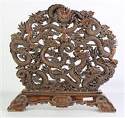 Sale 8926A - Lot 695 - A Large Carved Dragon Themed Dispaly on Stand (H 49cm L 52cm)
