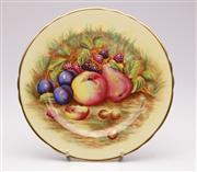 Sale 9070 - Lot 1 - Aynsley fruit themed Orchard Gold Plate, signed N. Brunt (Dia26.5cm) #7956