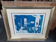 Sale 9082 - Lot 2066 - Brett Whitely, Self Portrait in Studio, decorative print, frame: 85 x 102 cm, unsigned -