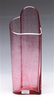 Sale 9090 - Lot 92 - Kjell Engman for Kosta Boda textured pink heart glass vase, signed to base (23cm)