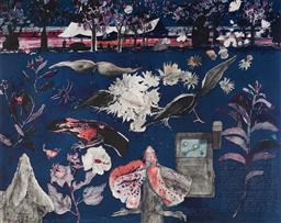 Sale 9130S - Lot 53 - John Wolseley (1938 - ) - Botanists Camp - Tropical Night 74 x 93 cm (frame: 99 x 122 x 5 cm)