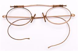 Sale 9104 - Lot 66 - A pair of antique Rolled-Gold reading glasses in case