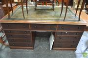 Sale 8317 - Lot 1059 - Late Victorian Mahogany Partners Desk, with tooled olive leather top, each side fitted with eleven drawers