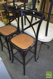 Sale 8390 - Lot 1295 - Pair of Bentwood Stools w Backs