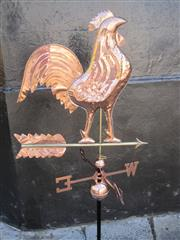 Sale 8769A - Lot 97 - Pressed Copper Rooster-Form Weather Vane (140cm) with wall mount bracket