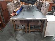 Sale 8822 - Lot 1704 - Modern Chrome Based Dining Table