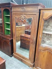 Sale 8868 - Lot 1157 - 19th Century French Walnut Armoire, with mirror panel door & drawer