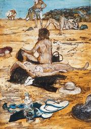 Sale 8958A - Lot 5025 - Nicholas Harding (1956 - ) - Beach Life (Goggles and Thong) 70.5 x 50 cm (frame: 110 x 80 x 4 cm)