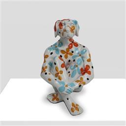 Sale 9221JM - Lot 5008 - GILLIE AND MARC Splash pop mini Dogman on white with flowers resin sculpture 18.5 x 15 x 14 cm .