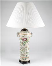 Sale 8350L - Lot 53 - A pair of hand painted polychrome urn lamps with cream shades on timber bases, total H 72cm, RRP $ 1080