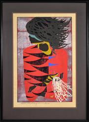 Sale 8394 - Lot 585 - Tadashi Nakayama (1927 - 2014) - Red Coat, 1957 60.5 x 38cm