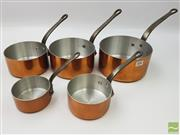 Sale 8439F - Lot 1886 - Set of Five Copper Saucepans (Largest H x 9.5cm D 20cm, Smallest H x 5cm D 10cm)