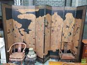 Sale 8444 - Lot 1046 - An Impressive Chinese Eight Panel Black Lacquer Screen, possibly depicting the deified emperor Qin with ennobled courtesans in a hea...