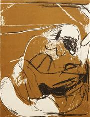 Sale 8597 - Lot 525 - Brett Whiteley (1939 - 1992) - Figures on an Ochre Background, 1961 65.5 x 50cm