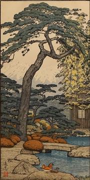 Sale 8606 - Lot 594 - Toshi Yoshida (1911 - 1995) - Conifer 49 x 25cm