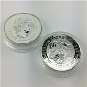 Sale 8618 - Lot 75 - The Australian 999 Silver Pair of Kookaburra 1992 $2 Coins (2) - 2oz each