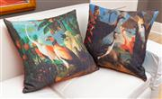 Sale 8741A - Lot 25 - Two down filled cushions with Kerrie Brown covers depicting birds and an armadillo, 58cm2