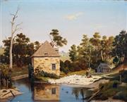 Sale 8838 - Lot 556 - Henricus Leonardus Van Den Houten (1801 - 1879) - Mill House and River, 1876 28 x 48cm