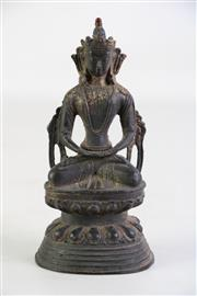 Sale 8926A - Lot 650 - A Small Bronze Seated Buddha on Lotus Base (H 17cm)
