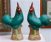 Sale 8934H - Lot 24 - A pair of brightly coloured ceramic cockerels with Chinese character mark stamped to base, Height 31cm