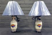Sale 8979 - Lot 1070 - Pair of French Replica Table Lamps with Fruit Basket Motif - 4001 (H:63cm)