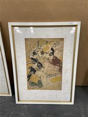 Sale 9004 - Lot 2091 - A Japanese Woodblock Print of A Court Scene, 58 x 43cm (frame) (AF - foxing)