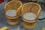 Sale 8310 - Lot 1006 - Pair of Vintage Swivel Chairs w Double Cane Back