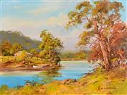Sale 8323A - Lot 35 - John Hingerty (1930 - ) - On the Curve of the River 38 x 50.5cm