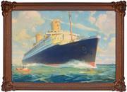 Sale 8347A - Lot 70 - William James Aylward (1875 - 1956) - SS Bremen - Norddeutscher Lloyd Line - c1933 60.5 x 90cm