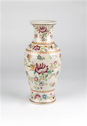 Sale 8350L - Lot 54 - A hand painted polychrome baluster vase, H 30cm, RRP $ 230