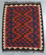 Sale 8438K - Lot 1 - Maimana Afghan Kilim Rug | 95x78cm, Pure Wool, Handwoven in Northern Afghanistan using durable local wool. Traditional slit weave ki...