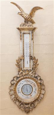 Sale 8550H - Lot 89 - A Regency style carved timber barometer and thermometer by Schatz with eagle surmount, H 105cm