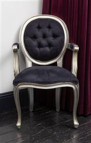 Sale 8761A - Lot 14 - A French bergere silver painted with black upholstery and studded back, Height of back 99cm