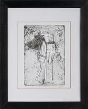 Sale 8903 - Lot 2043 - Kevin Oxley (1941 - ) (2 works) - Woman Seated & On Guard II 20.5 x 11.5; 22 x 15 cm