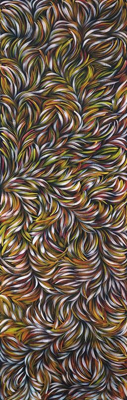 Sale 9099A - Lot 5022 - Margaret Scobie (1945 - ) - Bush Leaf Medicine 147.5 x 43.5 cm