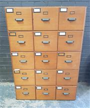 Sale 8984 - Lot 1015 - Vintage 15 Drawer Ply Filing Unit (H:151 x W:106 x D:53cm)