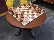 Sale 9006 - Lot 1087 - Timber Side Table with Chess Board Top (h:47 x d:53cm)