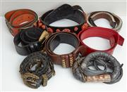 Sale 9081H - Lot 79 - A selection of medium width belts some leather