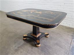 Sale 9142 - Lot 1050 - Black Chinoiserie Centre Table, the rectangular top with a gilt scene of a lion hunt, on a square pedestal with quadraform base & gi...