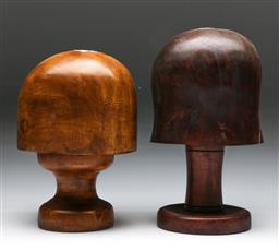 Sale 9144 - Lot 11 - Pair of timber hat blocks (h:24cm)