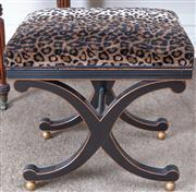 Sale 8800 - Lot 44 - An empire style piano stool with faux leopard upholstery and x frame base, H 49 x W 50 x D 35