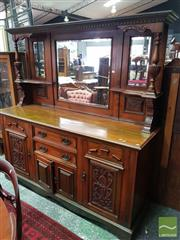 Sale 8485 - Lot 1013 - Edwardian Carved Walnut Sideboard, with high mirror back & two central drawers & flanked by doors (Key In Office)