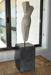 Sale 8858H - Lot 13 - Artist unknown, contemporary figural sculpture raised over a heavy square form marble base, total height 54cm